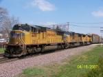 UP 4499 leads autorack train west