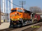 Sparkling clean BNSF 6229 leads westbound