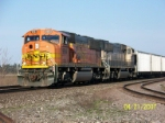 BNSF 9984 leads empty coal train west at Wellsboro