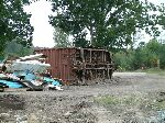 Boxcar on its side