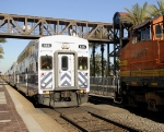Metrolink commuter train and BNSF mixed freight meeting