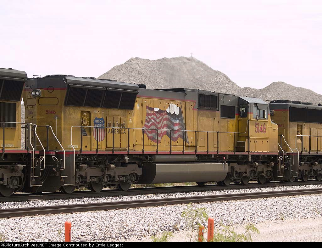 UP 5146 #2 power in a WB intermodal at 12:30pm