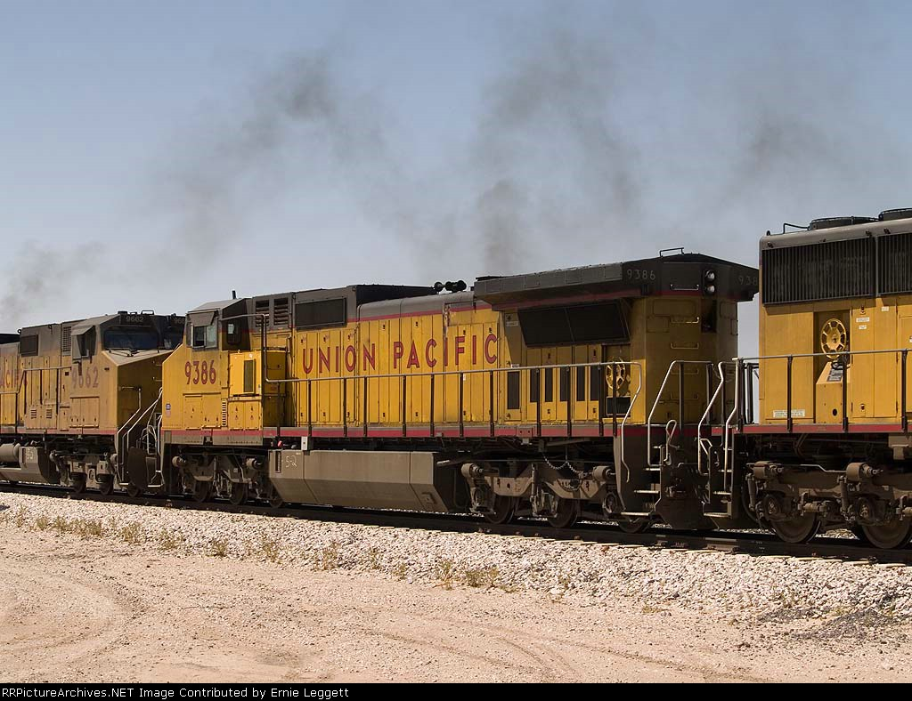 UP 9386 #2 power in an EB autorack at 2:45pm