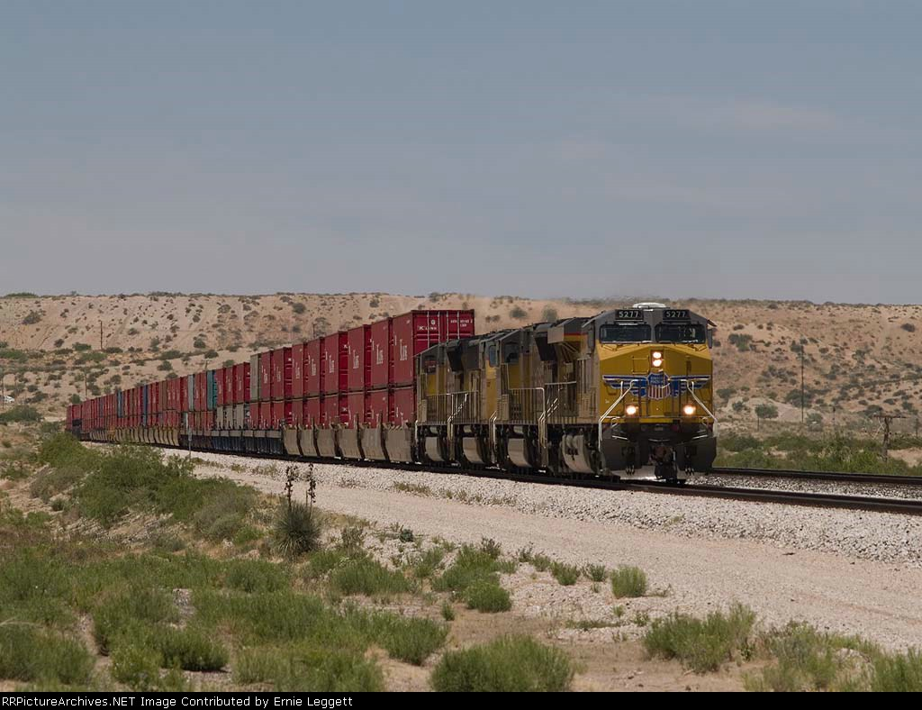 UP 5277 leads an EB intermodal at 12:28pm