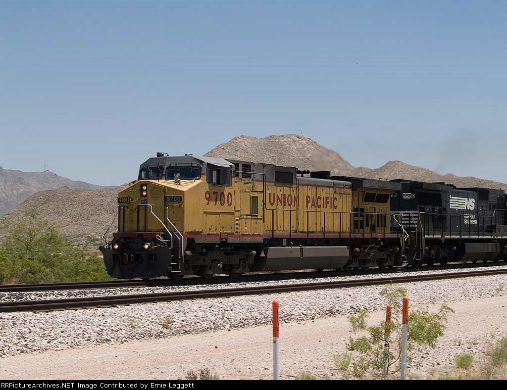 UP 9700 leads a WB intermodal at 1:16pm