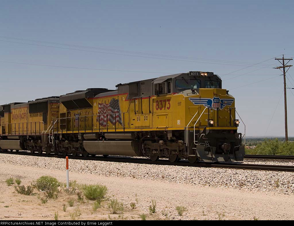 UP 8373 leads an EB intermodal at 1:16pm