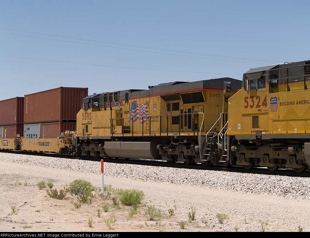 UP 5695 #4 power in an EB intermodal at 1:16pm