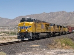 UP 7658 leads a WB intermodal at 1:35pm