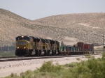 UP 3966 leads a WB intermodal at 12:34pm