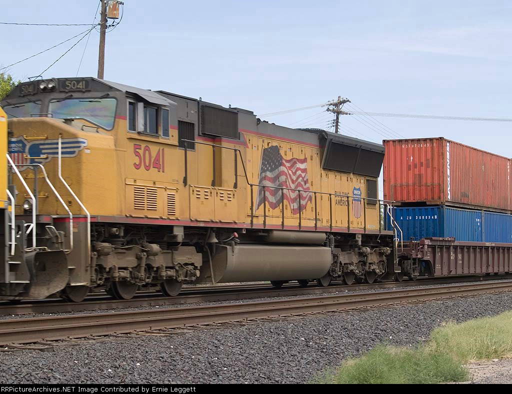 UP 5041 #3 power in a WB intermodal at 2:53pm