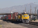UP 8569 leads an EB intermodal at 9:46am