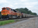 BNSF 9383 in Heritage III Scheme Chugs by With a String of Empties