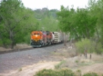 NB BNSF Local just crossing Fountain Creek in Pueblo. Salt Creek Jct is just about 1 mile or so behind train.
