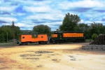 HRRC 3600 and HRRC caboose 654 bask in the sun in the yard