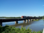 BNSF 8290 Leads a Train of Empties West Across the Platte River