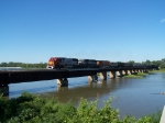 BNSF 8290, BN 9676 & BNSF 6010 Lead Empties Across the Platte River