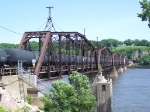 Tank Cars Span the Mississippi on the CN/IC Swing Bridge