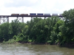 GE & EMD Power Lead a Container Train Over the Kate Shelley High Bridge