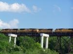 Grain Trains Meet on the Kate Shelley High Bridge