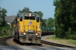 UP 3052 Approaches Main Street with Eastbound Manifest (Probably MDMPR)