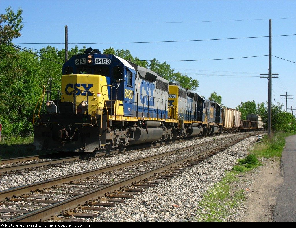 CSX 8483 & 8370 with the 2517 in tow, lead Q335-18 on the last leg of its journey