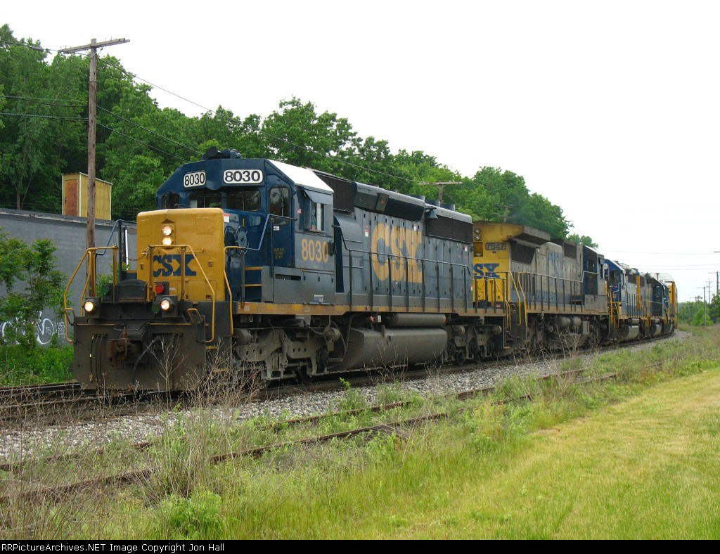 CSX 8030 & 7547 leading Q326-26 away from the yard with three units for Lansing