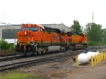 BNSF 6119 & 5609 backing out of the house in a rain shower as D801-15