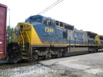 CSX 7349 rolling along with its marker lights on