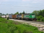 GCFX 3058 & CSX 8148 rolling east under a jumble of wires with Q326-29