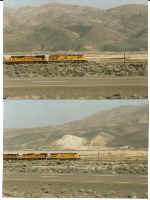 UP 7604 on Main track 1 at Elko, Nv with hills of the Spring Mts. in background