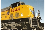 Up close shot of Engineers side of UP 7644