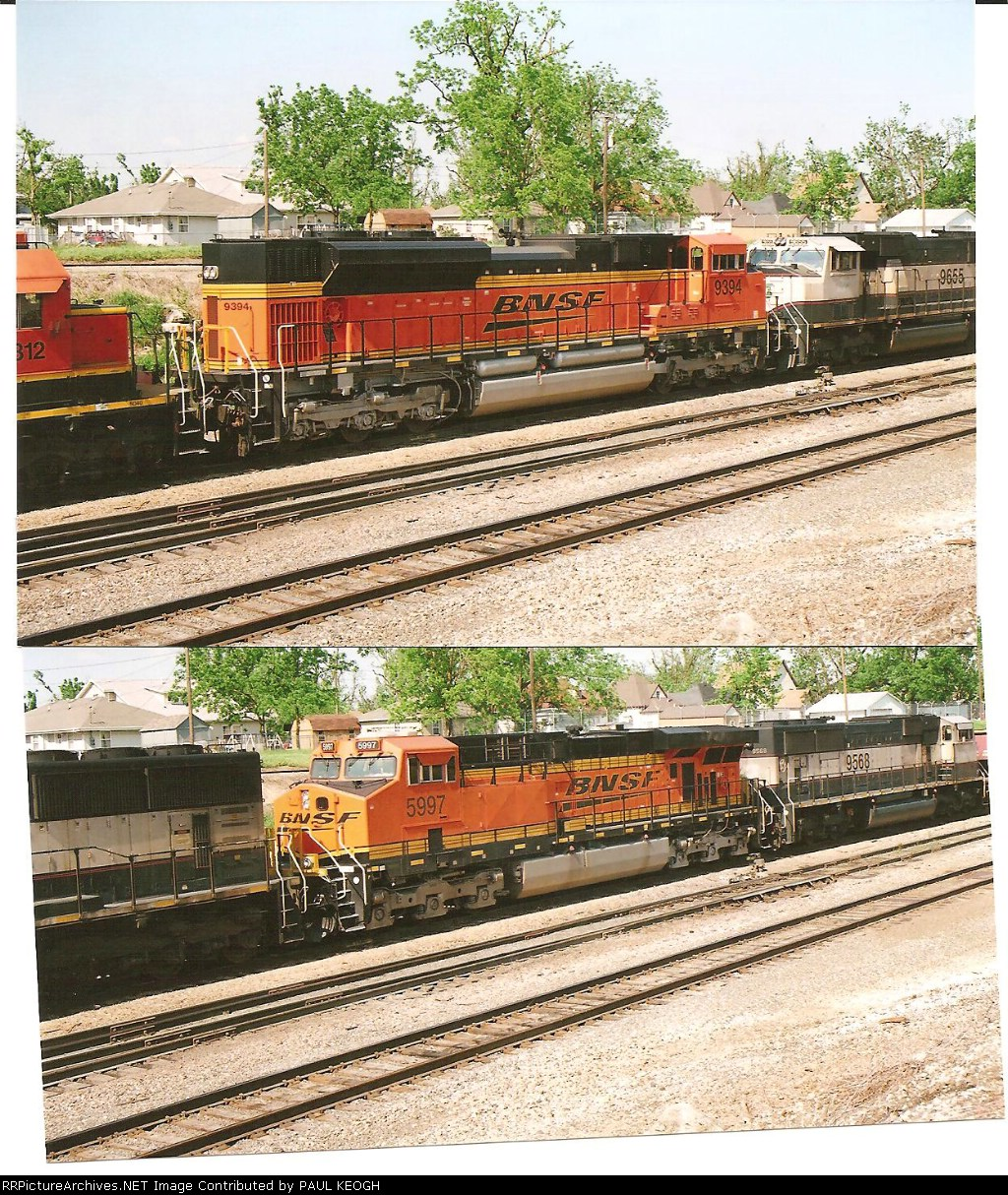 BNSF 9394 and BNSF 5997 roll as 4th and 6th units on a mty coaltrain
