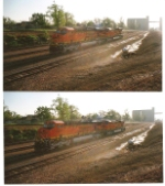 BNSF 6228 and BNSF 6227 crossed over to main track 2