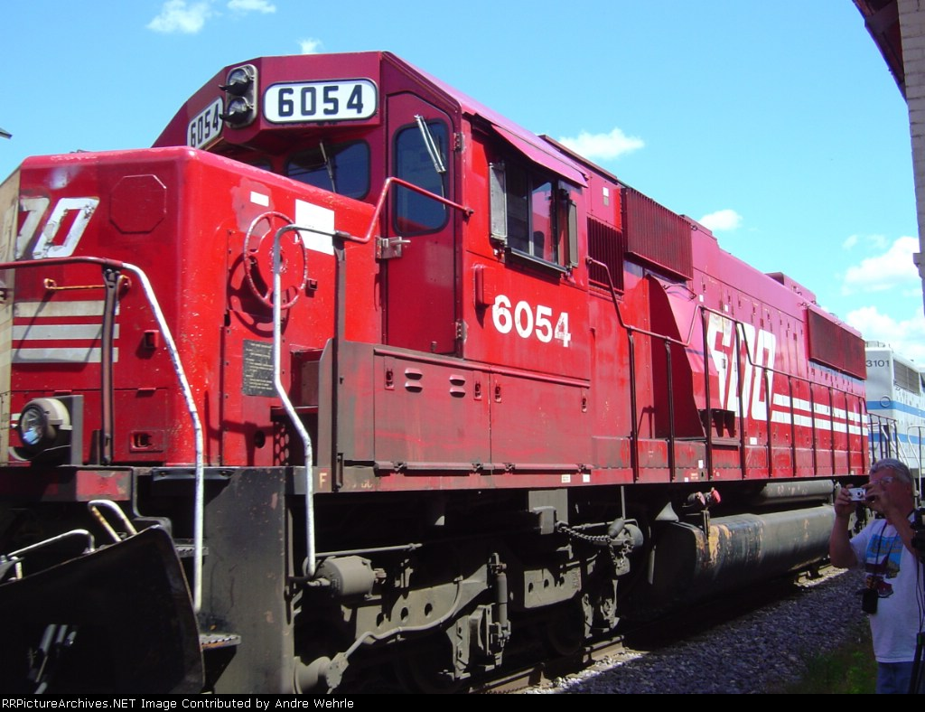 SOO 6054 up close as it passes the old freight depot