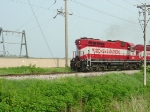 WSOR 2054 leads the Madison to Janesville freight long hood forward