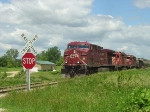CP 9739 leads the re-route slowly toward the Hammond Road crossing
