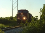 CP 9633 leads the detour at a leisurely pace in the evening light
