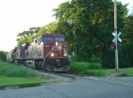 CP 9633 rounds the bend and blasts its horn for Williams Drive