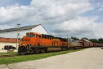 "BNSF 8215 leads the ""earthworm"" of grain loads"
