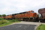BNSF 6789 is one of three units on the rear of the grain MTs