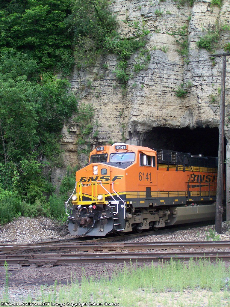 BNSF 6141 Emerges From the CN/IC Tunnel Just Prior to Crossing the Mississippi in Order to Shut Down for the Night in Dubuque, IA