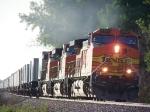 A Trio of Dash-9's Leads a Piggyback/Intermodal Mix Train East
