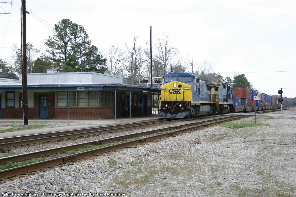 Container train passing the Depot
