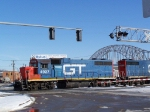 GTW 4927 Backs Through a Crossing Near the CN/IC Yard