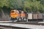 "BNSF 6126 & 5844 ""AC4400CW"" head south around the Inman Yard on the NS line"