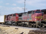 Old ATSF and Old CP Rail Power Help Pull a BNSF Freight Consist