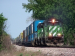 A Pair of SD40-2's Lead a Container/Piggyback Mixed Train East
