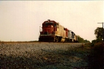 Last of 3 DT&I Gp38s not in GT paint on Delta turn 1988