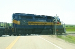 Winshield shot of 6094 crossing the HWY 14 crossing heading west