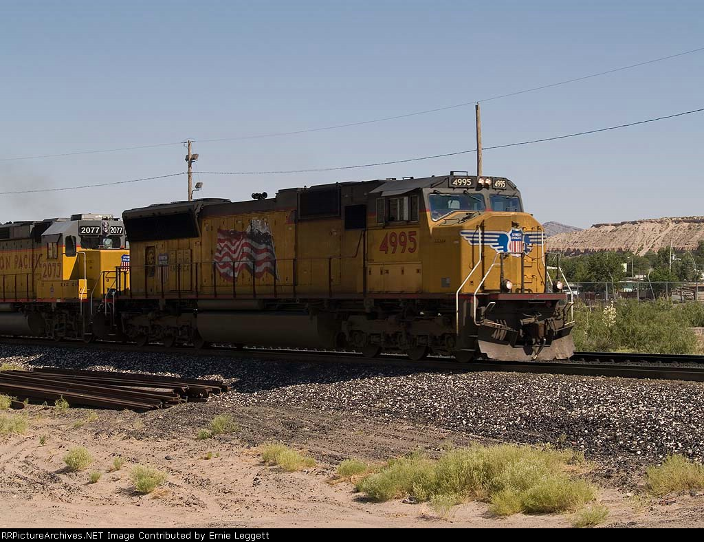 UP 4995 leads a WB manifest at 4:12pm